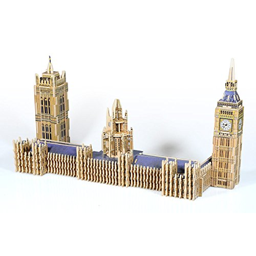 Lychee 3D legno puzzle Construction Kit, Torre Eiffel Arco di trionfo Big Ben Tower Bridge Woodcraft fai da te modello, grande architettura del mondo-JPD866