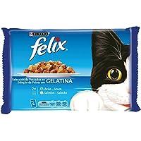 Purina - Felix Gelatina Surtido Pescados - Pack de 10 x [4 x 100 g] - Total 4000 g