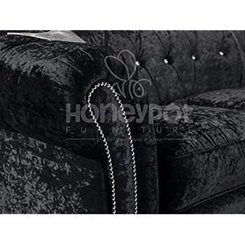 Honeypot - Sofa - Derby Chesterfield - 3 Seater - 2 Seater - Armchair - 2C2 Corner - Crushed Velvet - Black - Silver (Black, 2C2 Corner Sofa)