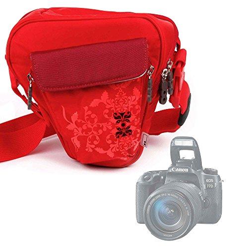 Galleria fotografica Borsa Donna Per Fotocamere Reflex Canon SLR EOS 77D | EOS 200D | Nikon Camera SLR D5600 | D300 | D810 | Polaroid iX6038 - Con Maniglia / Tracolla - Colore Rosso - DURAGADGET