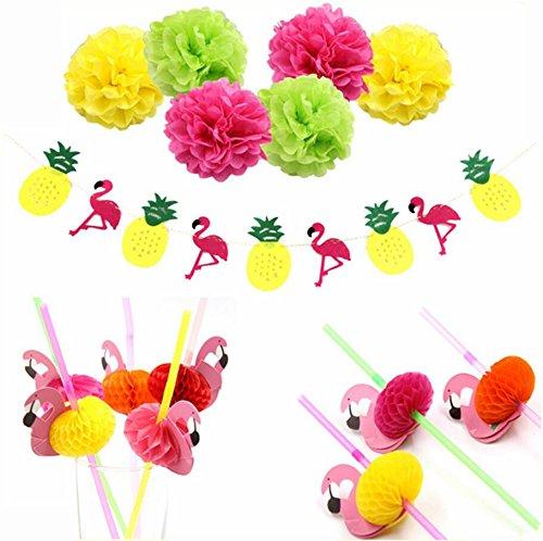 sopeace Luau Party Supplies Geschenkpapier Zeitgemäß Flamingo & Pineapple Banner 3D Flamingo Flexible Trinkhalme Sommer Pool Hawaii Party flamingle Decor Stil 1