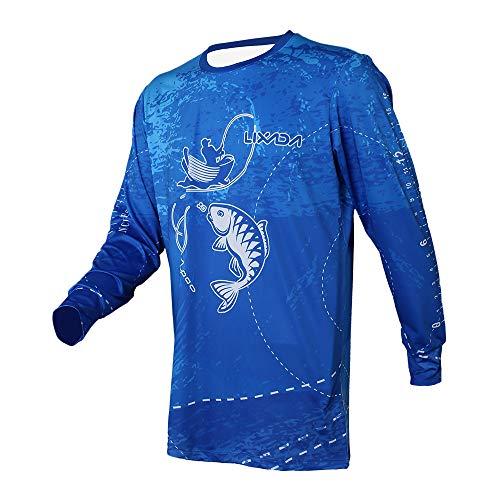 Lixada Camisa de Pesca de Manga Larga Ropa de Pesca Transpirable de Secado Rápido Enfriar para Hombres