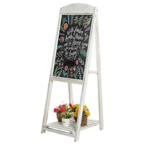 45-inch Rustikal Weiß gekalktem Holz A-Frame Kanten Menü Tafel Schild mit Display Regal - Antik-weiß, Rustikales Holz