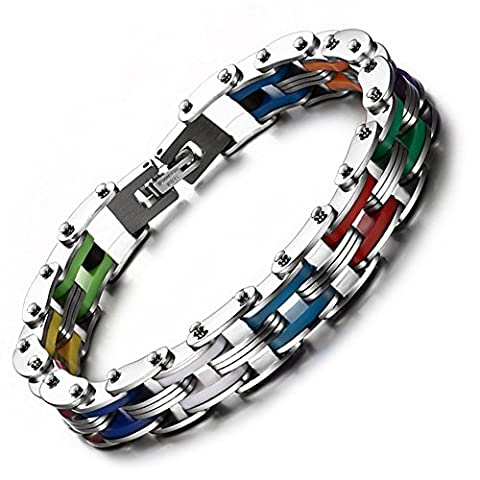Heyrock 20CM Silicone Rubber Bike Chain Bracelet of Stainless Steel