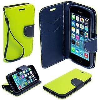 Moozy zweifarbige Fancy Tagebuch Buch Beutel Flip Handy Tasche mit Stand / Handschlaufe / Silikon Handyhalter für Apple iPhone 5 5S Hellgrün / Blau