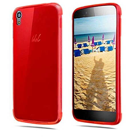 TBOC® Coque Gel TPU Rouge pour Alcatel One Touch Idol