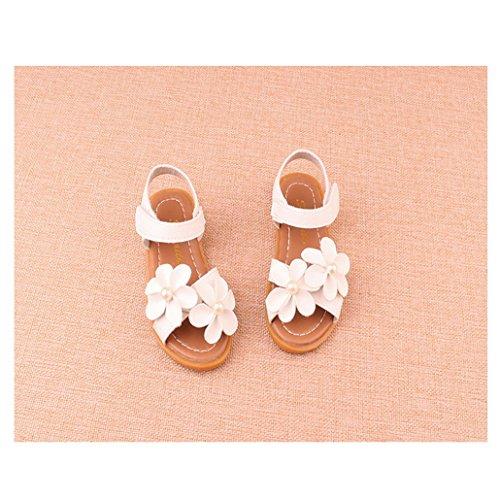 Evedaily Joli Chaussures Fille Vacances Mocassins Sandales avec Velcro et Fleurs Blanc