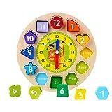 Ccinee Uhr-Spielzeug aus Holz, zum Lernen der Uhr, Puzzle-Uhr, Lernspielzeug mit Zahlen und Blöcken zum Sortieren