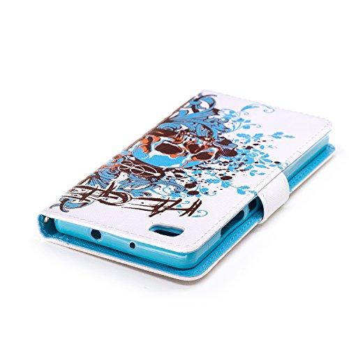 Coque Huawei P8 Lite, Aeeque® Housse Étui en PU Cuir Bumper Flip Cover Bookstyle Support Cartes Slots Joli Fleur de Paon Bleu Ultra Mince Léger Fermeture Aimantée Étui pour Huawei P8 Lite Crâne bleu