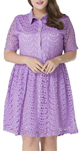 SMITHROAD Damen A-Linie Lace Spitzenkleid knielang Sommerkleid Kurzarm mit Umlegekragen Übergröße Gr.38 bis 50 Violett