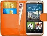 G-Shield Hülle für HTC M9 Klapphülle mit Kartenfach und Magnetverschluß Kunstleder mit Displayschutzfolie und Stylus - Orange