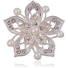 Hosaire 1X Atmósfera broche de flores dobles de perlas broche de bodas decorada color dominante de plata regalo