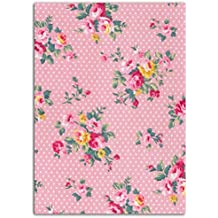 dailylike lki01flores tela termoadhesiva (algodón, de lunares rosa 15x 21x 0,1cm)