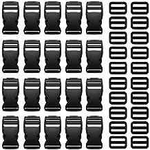 DreamTop 20x lateral de plástico hebillas de liberación rápida y 20x antideslizante Triglides diapositivas hebillas para 1, correa cinturón, negro