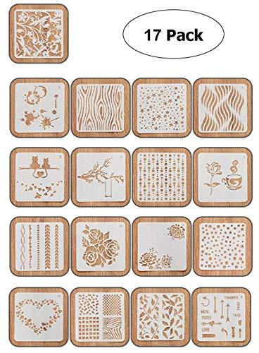 Ai-life 17 Stück Bullet Journal Grafiken Schablonen, Plastik Zeichnung Malerei Schablonen Skala Vorlage Sets für Scrapbook, Notebook und Craft Projekte, 5.1x5.1 Zoll