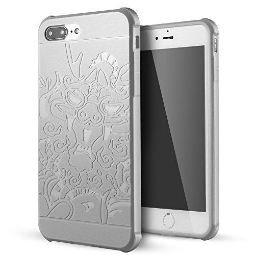 iPhone 7 Plus hülle,Lizimandu Case Für apple iphone 7plus aus TPU Silikon - Handy Schutzhülle Cover(Drachen Schwarz/Dragon Black) Drachen Grau/Dragon Gray