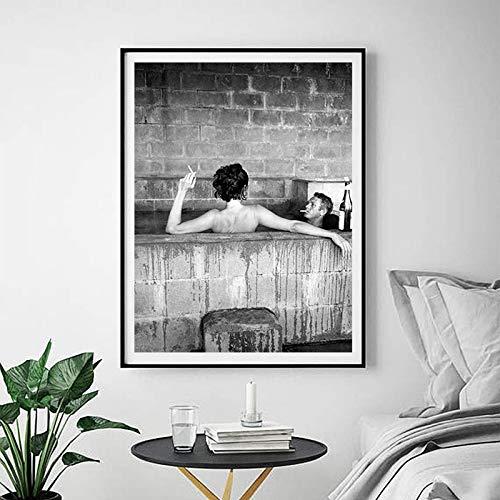 RTCKF Poster di Moda Francese Vintage Stampa su Tela, Modello in Bianco e Nero Photo Art Painting Decorazione murale (Senza Cornice) A4 60x90CM