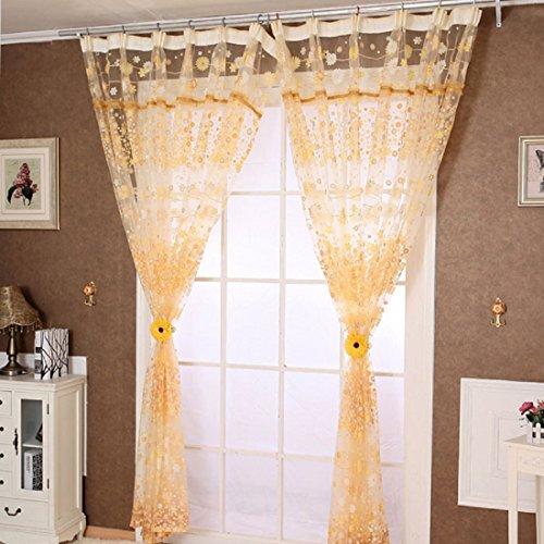 DOLDOA La cortina de ventana floral de la puerta de 1PC Tulle...