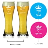 Valentine Gifts, Giftsmate Natak King and Drama Queen Beer Glasses - Set of 2 with 2 Coasters,Valentine Gifts for Husband, Valentine Gifts for Wife, Valentine Gifts for Girlfriend, Valentine Gifts for Boyfriend, Romantic Gifts