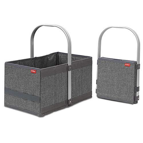 achilles Handle-Box, Einkaufskorb mit Cleverm Faltsystem, Faltkorb mit Aluminium Griff, Shopper, Melange Grau 40 cm x 24 cm x 20 cm