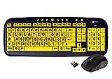 Geemarc KBS_Wireless_YELBK_GE Funk-Tastatur mit großer Schrift und Maus (Schwarz auf Gelb) USB 2.0 mit Windows XP;Vista,7 kompatibel - Plug&Play (deutsche Version)