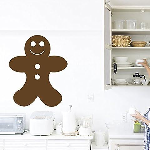 niños hombre de pan de jengibre Gastronomía Pegatinas de Pared Cocina Decoración Arte Adhesivos disponible en 5 tamaños y 25 colores Grande Marrón