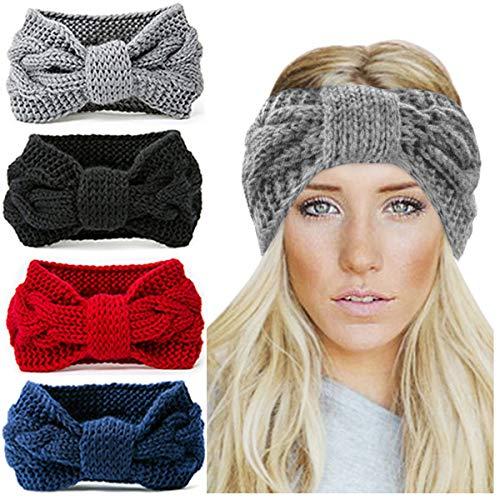 KQueenStar Damen Gestrickt Stirnband -3 Stück Häkelarbeit Schleife Headwrap Design Stirnband Winter Kopfband Haarband Headwrap Ohr Wärmer, Style C, M