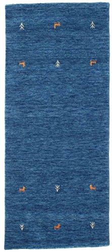 CarpetVista Gabbeh Loom Two Lines - Blau Teppich 80x200 Orientalischer, Läufer Teppich -