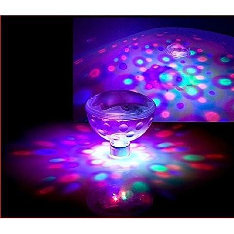 Luz brillante RGB marca DLAND – 5 secuencias de cambio de color – LEDS Efecto Disco – Lámpara flotante de luz brillante, impermeable, para bañera, estanque, piscina, spa, jacuzzi.