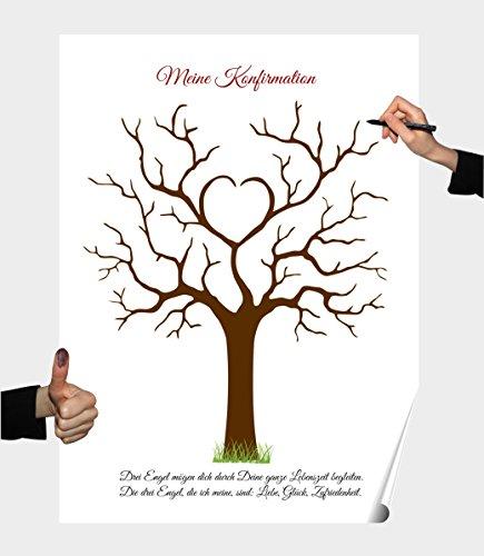 Herzl-Manufaktur Poster Konfirmation II Partyspiel Fingerabdruck Baum Gästebuch (Konfirmation II)