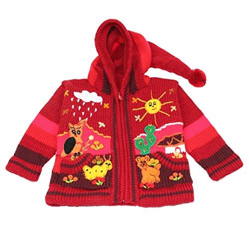 Limeno - Kinder Strickjacke aus Peru, handgefertigt aus 50% Wolle und 50% Dralon, mit Kapuze, Größe 62-116, verschiedene Farben (86-92, Dunkelrot)