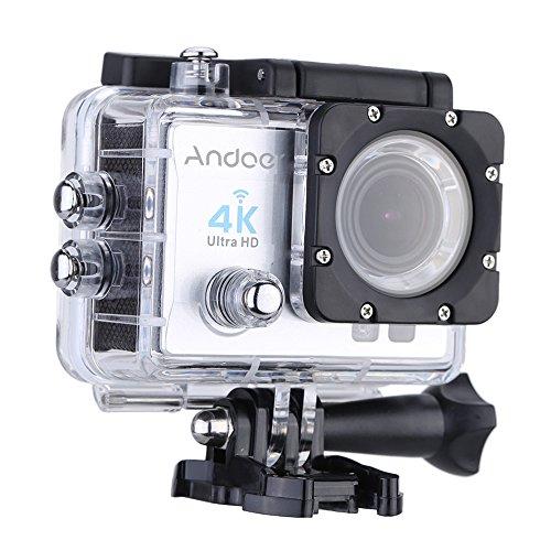 Andoer action cam wifi 4k full hd 16mp 1080p subacqueo action sport camera 170° grandangolare impermeabile 30m con custodia impermeabile e kit accessori