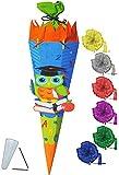 Unbekannt BASTELSET Schultüte -  lustige Eule - Schule  - 85 cm - incl. Schleife - mit / ohne Kunststoff Spitze - Zuckertüte - Set zum selber Basteln - 6 eckig / blau..