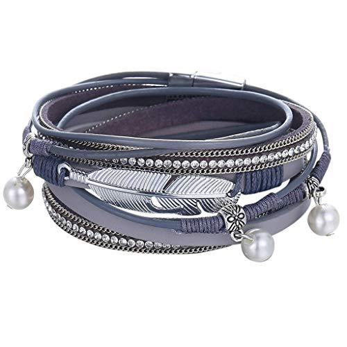 LILIGOD Männer Damen Vintage Braided Armband Einfache Lederarmband Multilayer Bracelet Mode Wild Armband Schmuck Festival Geschenk Freundin Freund Geburtstagsgeschenk Paar Armband -