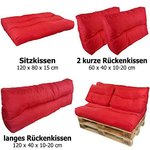proheim Palettenkissen Lounge 4-teiliges Set 1 Sitzkissen + 3 Rückenkissen in Rot Sitzpolster für Europaletten Paletten-Sofa - 2