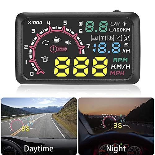 znwiem W02 HUD Head Up Display 5.5inch Windschutzscheibenprojektor OBD2 II Auto Fahrzeuggeschwindigkeit Anzeige