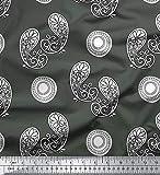 Soimoi Grau Baumwolljersey Stoff Blumen & Paisley Stoff Drucke Meter 58 Zoll breit