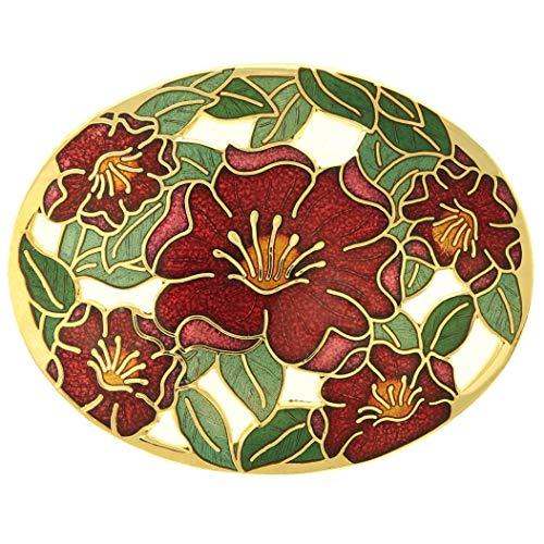 behave® Damen Ovale Blumen brosche aus Emaille - rot - 5cm Größe