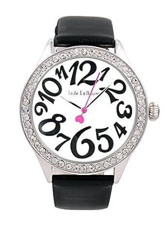 Womens Black Leather Strap Wrist Watch White Dial Jade LeBaum
