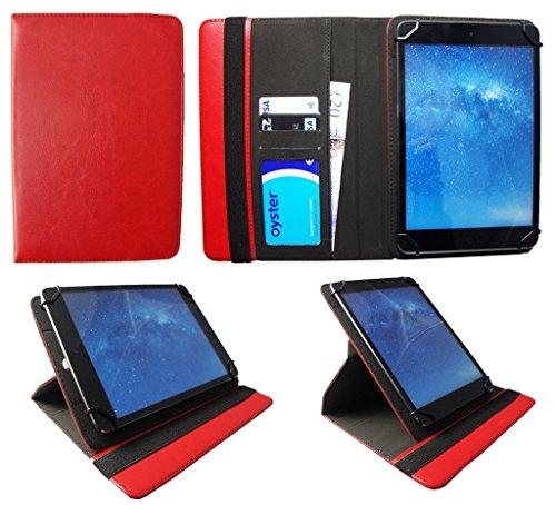 Sweet Tech Fengxiang FX-G16 10.1 Zoll Tablet Rot Universal 360 Grad Wallet Schutzhülle Folio mit Kartensteckplätzen (9-10 Zoll
