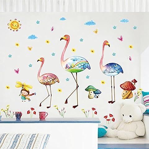 Cartoon Flamingo Wall Art Creative Wall Stickers for Kids Room Bedroom Living Room Kindergarten Vinyl Waterproof Home Decor by Clest F&H
