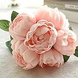 gaddrt 1 Bouquet 6 Heads Künstliche Pfingstrose Seidenblume Blatt Home Hochzeit Party Decor (Rosa)