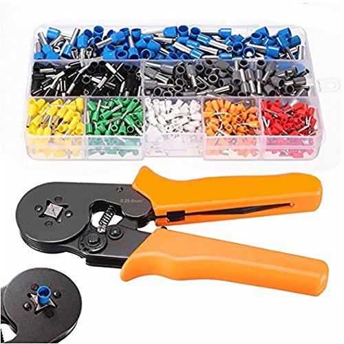 Htianc Crimpzangen Aderendhülsen Set, 800 Stecker Crimpzange Set mit Kabelschuhe Tool Kit 0.25-6.0mm , Crimpwerkzeug set für Ratschenkabelschuhe