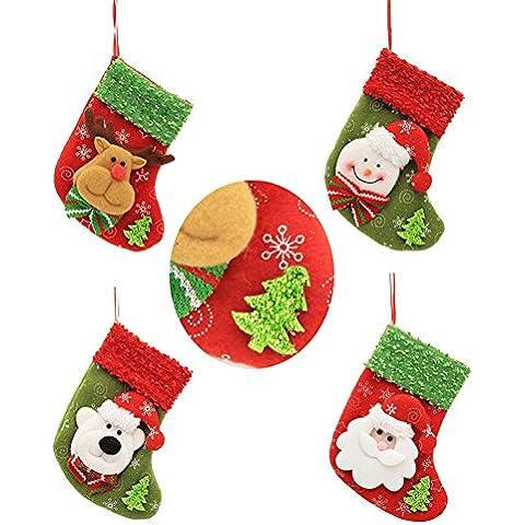 Forepin®4 x Calza di Natale Decorazione 3D Regalo Di Natale per Bambini Snack Caramella contenitore Pacchetto Sacchetti per Natale Decorazioni (Style 8) - Partita Busta