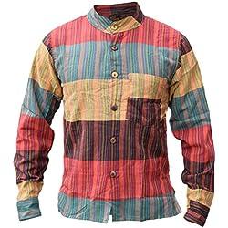 LITTLE KATHMANDU Hombre Rayas Algodón Verano Camisa X-Large
