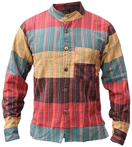 Pulsante Righe Di Cotone Nonno Uomo Giù Multicolore Festival Camicie XXX-Large