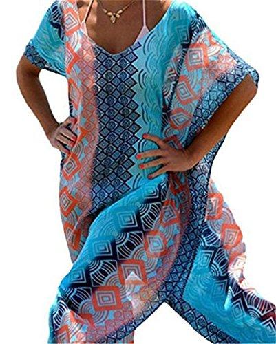 Damen Mädchen Sommer Bikini Cover Up Chiffon Sommerkleider Strandkleid Lose Beachwear Strandkleid große größen Oberteile Bluse One-Size Einheitgröße Minikleider (Cover Strand Pareo)