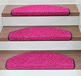 Kettelservice-Metzker Stufenmatten Treppenmatten Shaggy - Halbrund 10 Aktuelle Farben im SparSet 15 Stck. incl. Fleckentferner (Fuchsia/Pink)