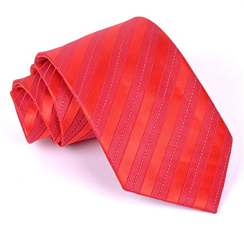 Z-P Mens New Fashion Upscale Red Stripes Necktie Polyester Silk Business Wedding Ties Coral Bowtie-jungs