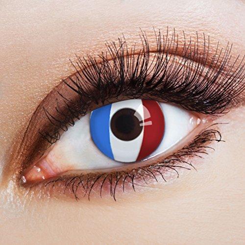 arbige Kontaktlinse Flagge Équipe Tricolore -Deckende Jahreslinsen für dunkle und helle Augenfarben ohne Stärke,Farblinsen für Karneval,Fasching,Motto-Partys und Halloween Kostüme (Spiel Hazel-halloween-party)